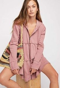 Free People Sweatshirt Tiered Trapeze Zip-up BNWT